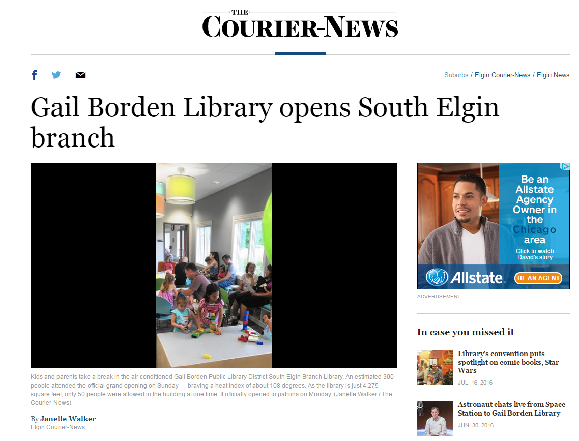 Gail Borden Library Opens South Elgin Branch