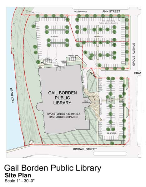 Gail Borden Public Library site plan