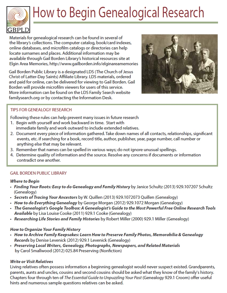 cover of genealogy handout
