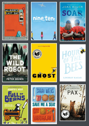 Book covers from 2017-2018 Battle of the Books title list