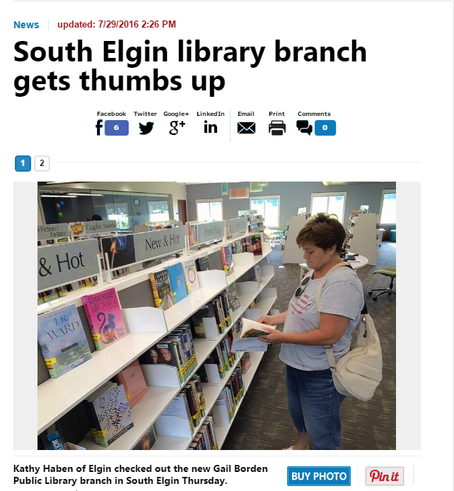South Elgin library branch gets thumbs up!